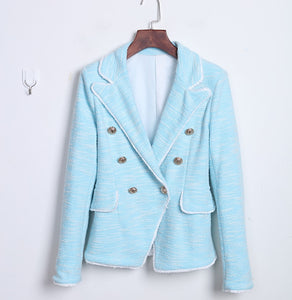 New Fashion 2020  Tassel Fringe Metal Lion Buttons Double Breasted Tweed Blazer Jacket
