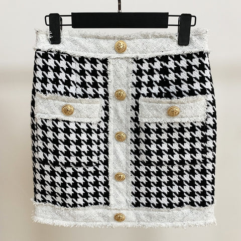 Baroque Designer Fringed Lion Buttons Houndstooth Tweed Mini Skirt
