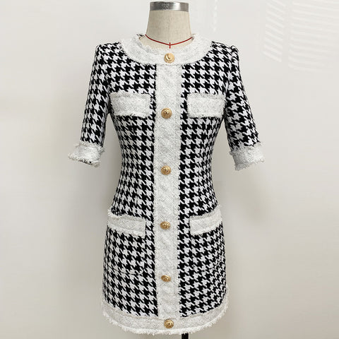 HIGH QUALITY Newest 2020 Short Sleeve Fringed Houndstooth Tweed Dress