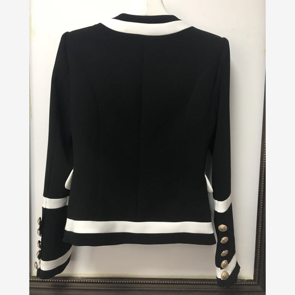 HIGH QUALITY New Fashion Classic Black White Color Block Metal Buttons Blazer