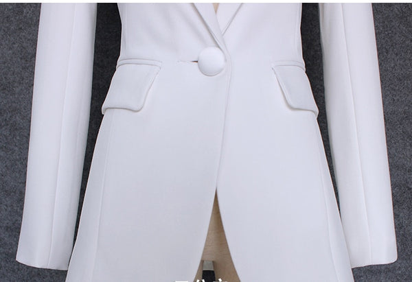 TOP QUALITY 2020 New Stylish Shrug Shoulder Single Button White Blazer Jacket