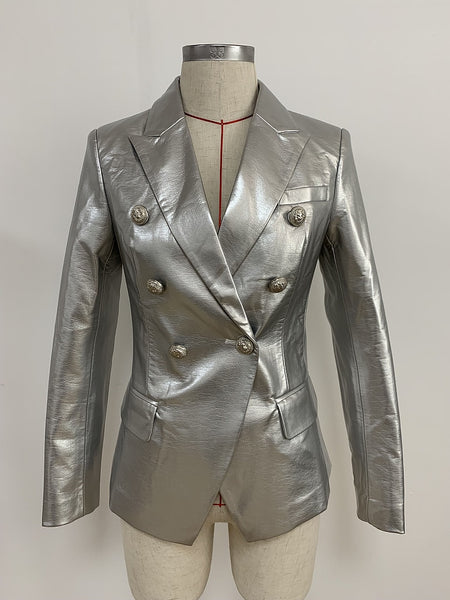 Newest  2020 Lion Metal Buttons Double Breasted Synthetic Leather Blazer