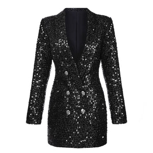 Newest Fashion Runway 2020  Double Breasted Shawl Collar Sequined Long Blazer