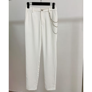 HIGH QUALITY  Metal Chain Embellished White Pants Trousers