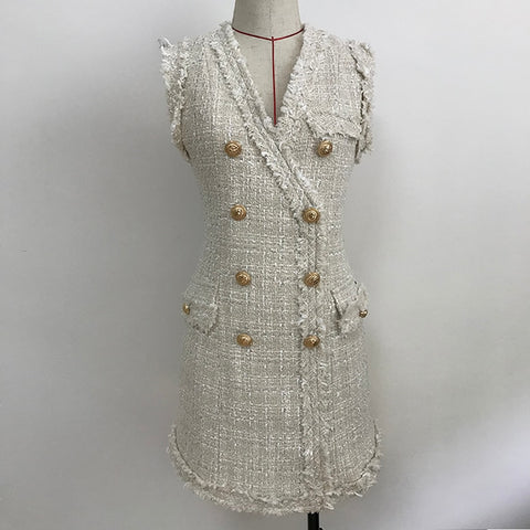 Baroque Designer Metal Lion Buttons Double Breasted Tassel Fringed Tweed Dress