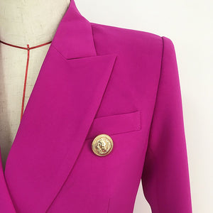 Newest 2020 Designer Purple Lion Buttons Double Breasted Blazer Jacket