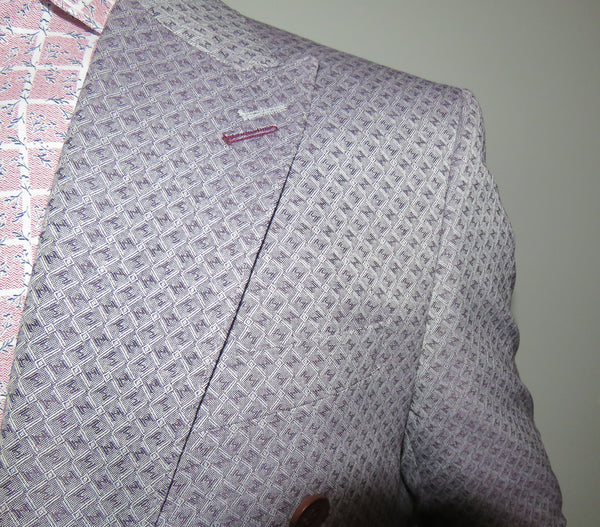 Patterned Light Burgundy Double Breasted Slim Fit Suit | Wessi