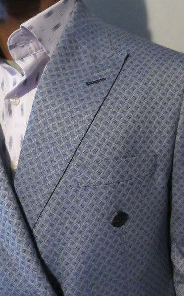 Patterned Blue Double Breasted 2 Piece 6 Button Suit?Wessi