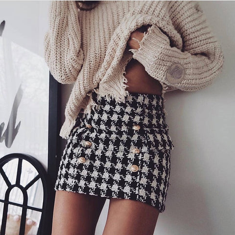 2020 Metal Lion Buttons Embellished Houndstooth Tweed Mini Skirt