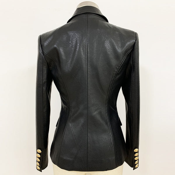Newest Lion Metal Buttons Double Breasted Synthetic Leather Blazer Overcoat