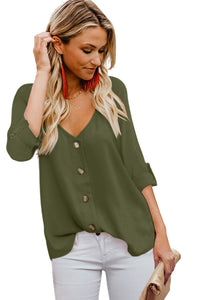 Green Button Detail Roll up Sleeve Blouse
