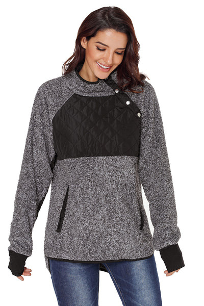 Charcoal Fleece Asymmetrical Snap Pullover
