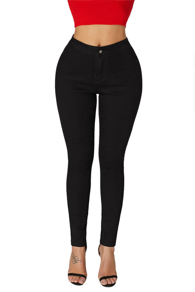 Black High Waist Skinny Jeans with Round Pockets