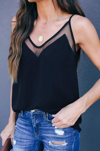 Black Sweet Fling Mesh Tank Top