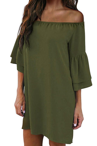 Green Off Shoulder Ruffled Sleeve Shift Dress