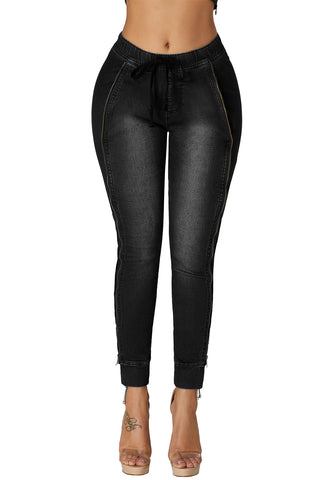 Black Wash Elastic Waistband Denim Pants