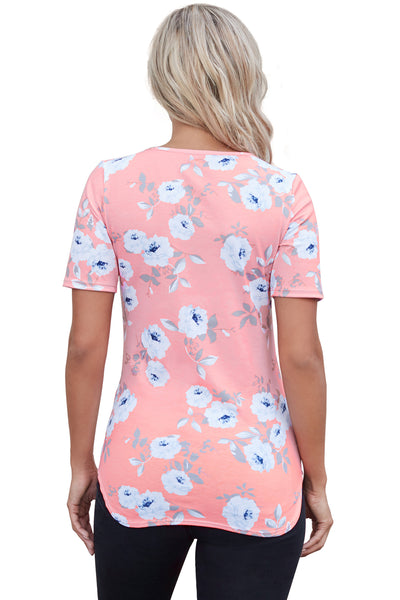 Pink Super Soft Floral Tee Shirt with Crisscross Neck