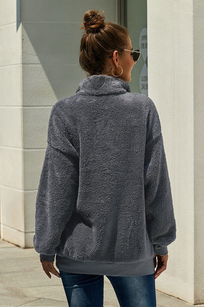 Dark Gray Traverse Pocketed Sherpa Pullover Sweatshirt