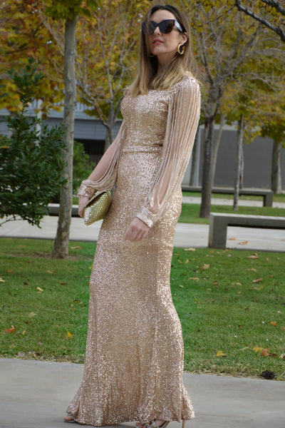 Apricot Off Shoulder Tasseled Sleeve Sequin Party Maxi Dress