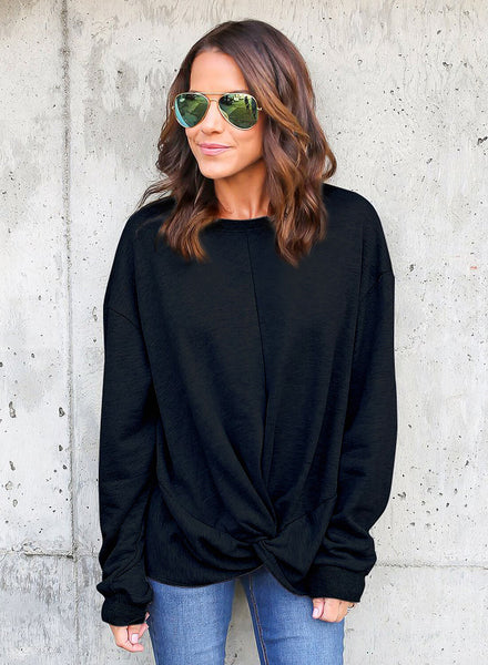 Black Knot Twist Front Long Sleeve Casual Pullover Sweatshirt