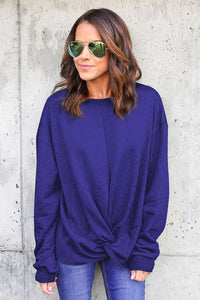 Blue Knot Twist Front Long Sleeve Casual Pullover Sweatshirt