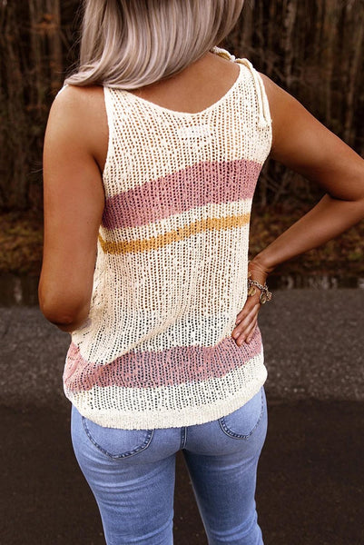 White Striped Colorblock Textured Knit Tank