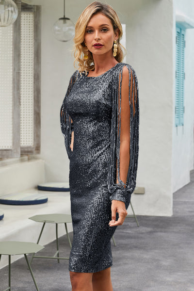 Black Sequin Tassel Sleeve Bodycon Evening Dress