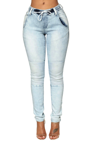 Light Blue Wash Knee Patch Denim Jogger Pants