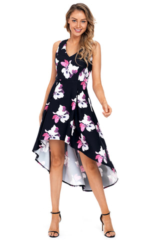 Fushcia Floral High Low Hem Midi Dress