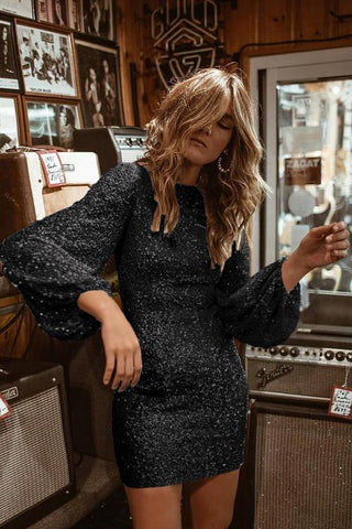 Black Puffy Sleeve Sequin Party Mini Dress
