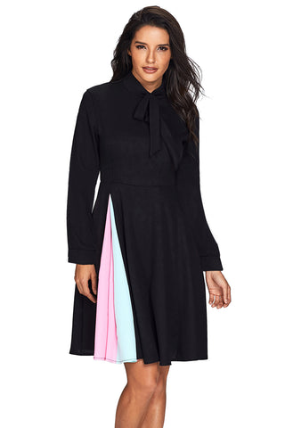 Patchwork Tie Neck Long Sleeve Black Flared Dress