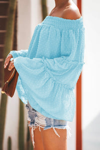 Turquoise Swiss Dot Off The Shoulder Top