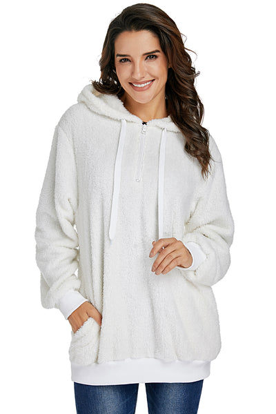 White Warm Furry Pullover Hoodie