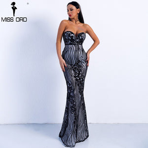 Missord 2019 Sexy Spring and Summer Off Shoulder Sequin Dresses Female Backless Elegant Maxi Dress FT9002