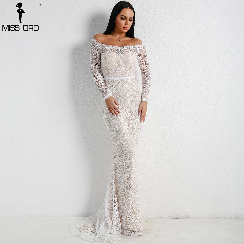 Missord 2020  Women Sexy Off Shoulder Lace Dresses Female  Backless Maxi Elegant Party Dress  FT18306