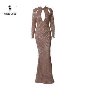 Missord 2020 Women Sexy High Neck Hollow Out Dresses Female Sequin Party Elegant Floor-length Reflective Dress Vestdios FT18715