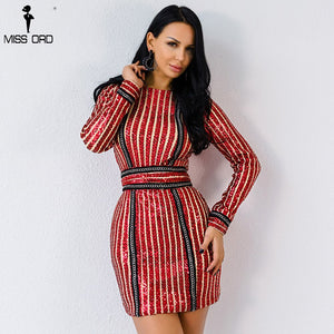 Missord 2020 Sexy O Neck Long Sleeve Sequin Belt Rope  Ring New  Women Elegant Dress FT4935-3