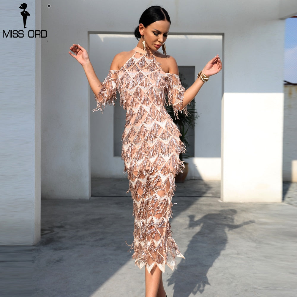 Missord 2020 Sexy High Neck Tassel Sequin Short Sleeve Dress Female Split Elegant Party Dress Vestdios FT18456