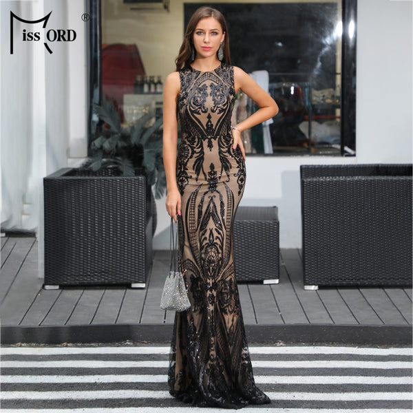 Missord 2020 Women Sexy  O Neck  Sleeveless Retro Geometric Sequin Dresses Female  Elegant  Party Dress  FT18915