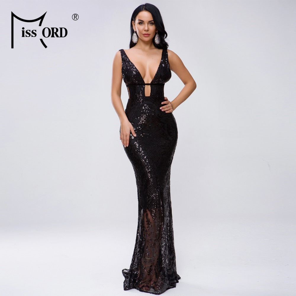 Missord 2020 Women Sexy Deep V Off Shoulder Hollow Out Sequin Dresses Female Elegant Maxi Dress  FT19463