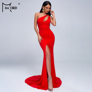 Missord 2020 Sexy RED  one shoudler hole open  chest asymmetric maxi dress party maxi dress MS011-1