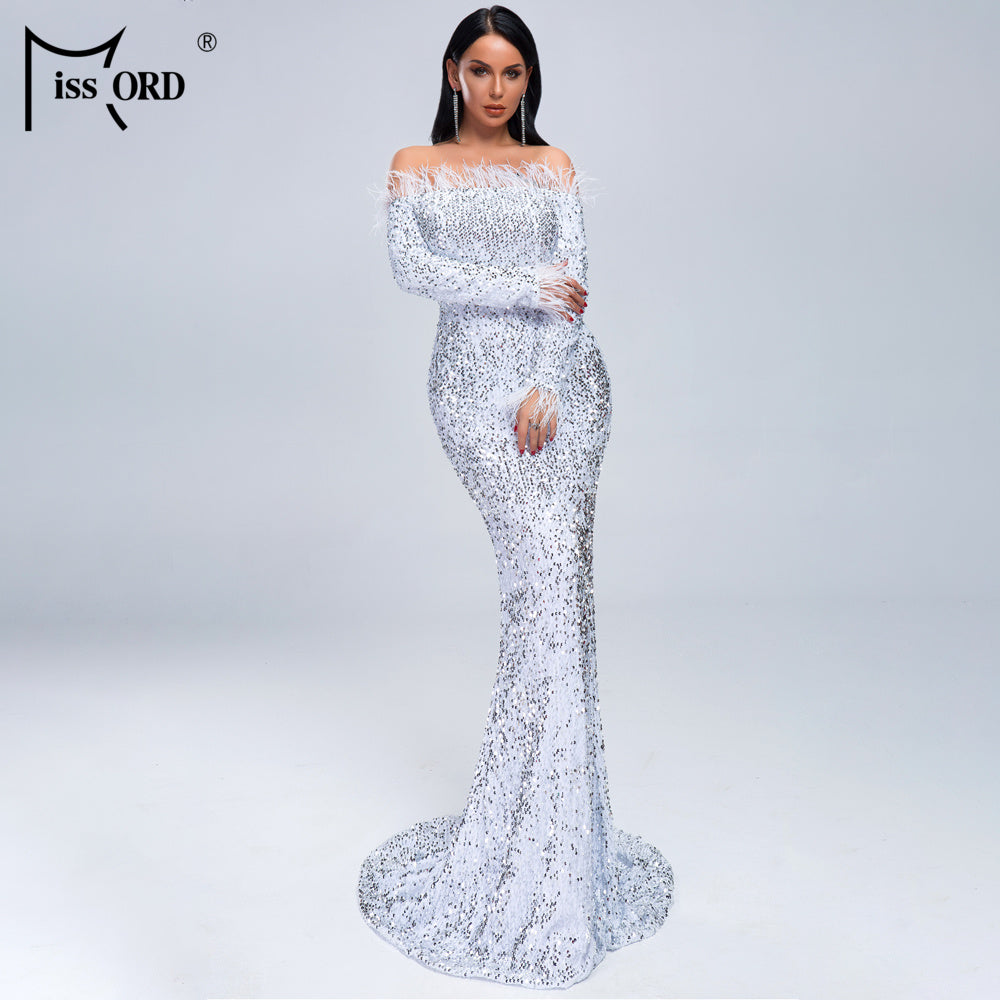 Missord 2020 Women Sexy Off Shoulder Feather Long  Sleeve Sequin floor length Evening  Maxi Reflective Dress Vestdios  FT19005-1