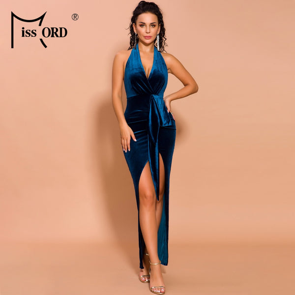 Missord 2020 Autumn and Winter Women Deep V Off Shoulder High Split  Velvet Backless Dresses Female Elegant Maxi Dress FT19498