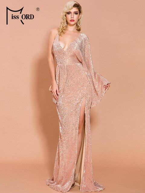 Missord 2020 Autumn and Winter Sexy Deep V Neck Solid Color Women Maxi Dresses Sequins One Shoulder Elegant Women Dress FT19802