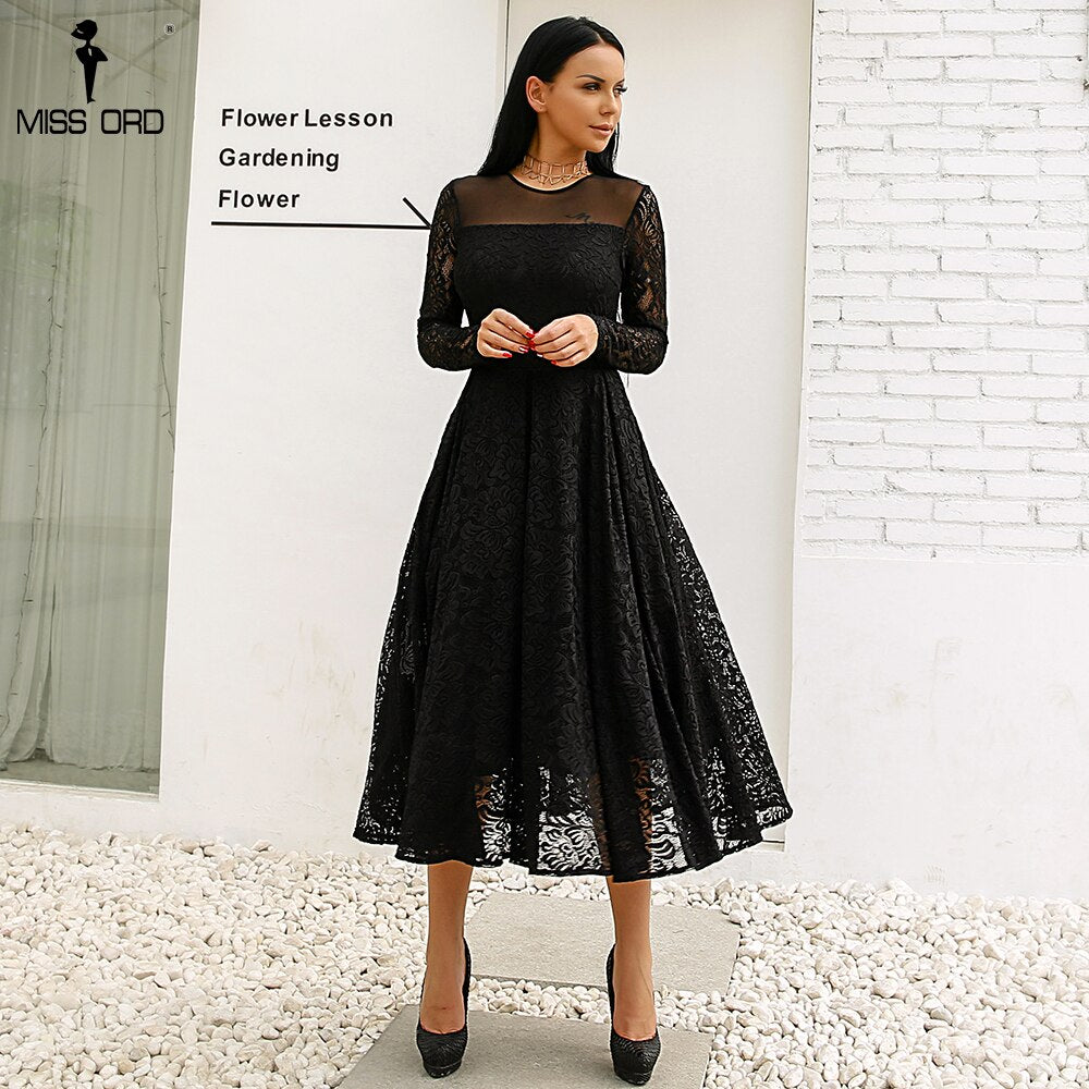 Missord 2020 Sexy  Long Sleeve   o  neck   High Split Lace  Solid Color  Elegant Dress FT18350