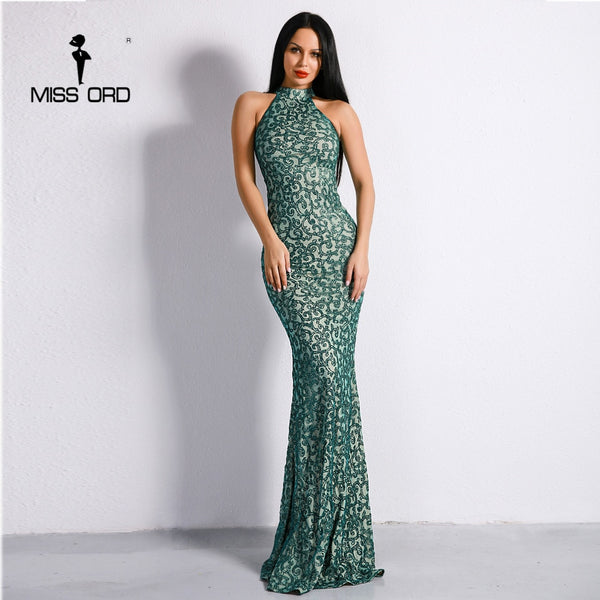Missord 2020 Sexy High Neck Sleeveless Glitter Retro Dresses Women Maxi Party Elegant Dress  FT8886
