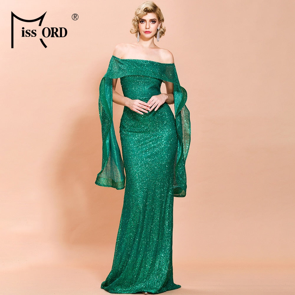 Missord 2020 Sexy Irregular Neck Ruffle Solid Color Dresses Female Elegant Bodycon Maxi Glitter Dress FT19748-1