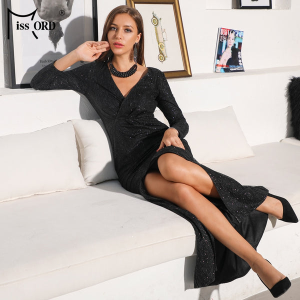 Missord 2020 Sexy V Neck Long Sleeve Glitter High Split Dress Female Elegant Party Clubwear Maxi Elegant Dress VestdiosFT18776-3