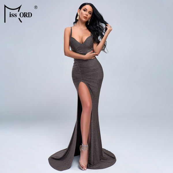 Missord 2020 Women Summer Sexy V Neck Off Shoulder High Split Dresses Female  Backless Stretch Maxi Floor-Length Dress FT19427-1