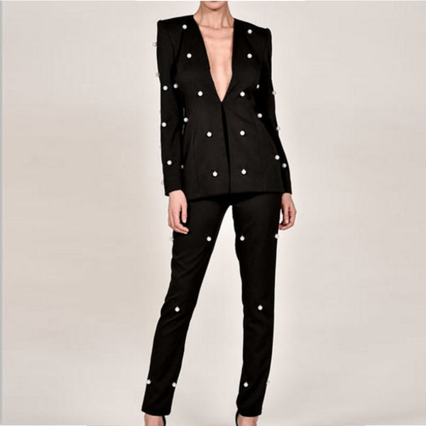Missord 2020 Sexy  Long Sleeve Button Two Pcs  Sets Beads Solid Color Elegant  Jumpsuit  FT8720